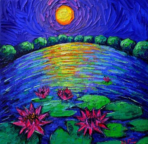 Abstract water lilies pond by moonlight
