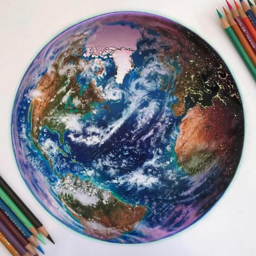 Colored pencil drawing of the Earth