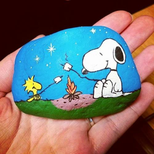Snoopy and Woodstock stone painting