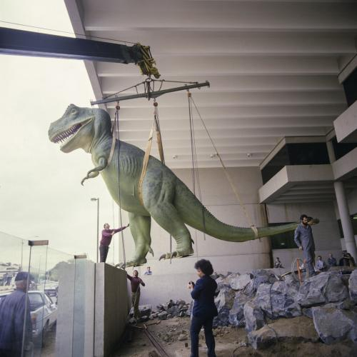 T-Rex being lowered into his new home