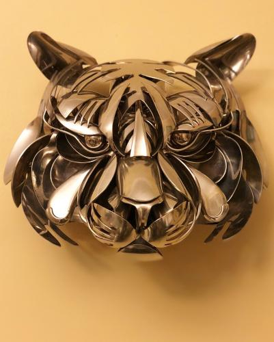 Tiger made out of silverware