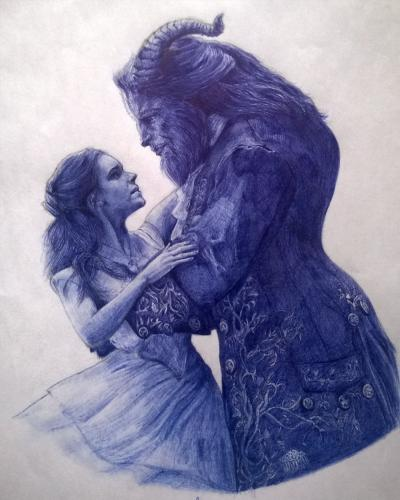 Beauty And The Beast Ballpoint Pen Drawing